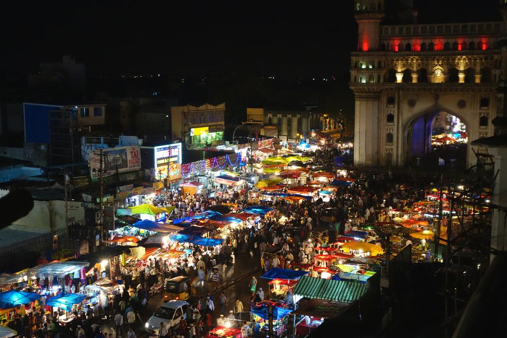 A busy night bazaar.