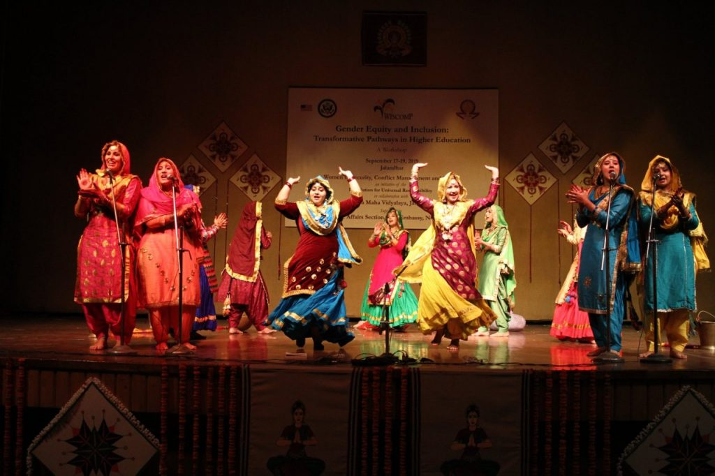 Students at a campus in North India presenting a folk dance with a re-scripting of the verses from a gender lens.