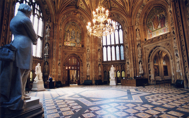 Central lobby of the UK Parliament.
