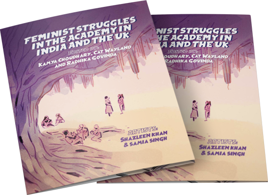 The cover design of the 'Feminist Struggles in the Academy in India and the UK' webcomic